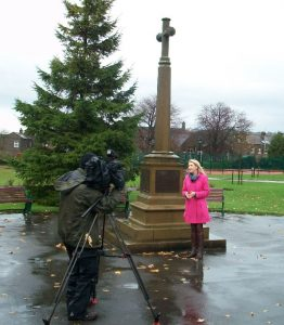 Calendar News filming at Sutton in Craven war memorial