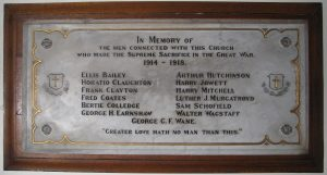 St James Church - Great War Memorial plaque