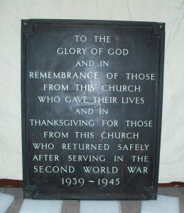 Sun Street Methodist Chapel - World War Two memorial panel