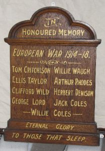 Victoria Park Wesleyan Methodist Chapel - Great War Memorial board