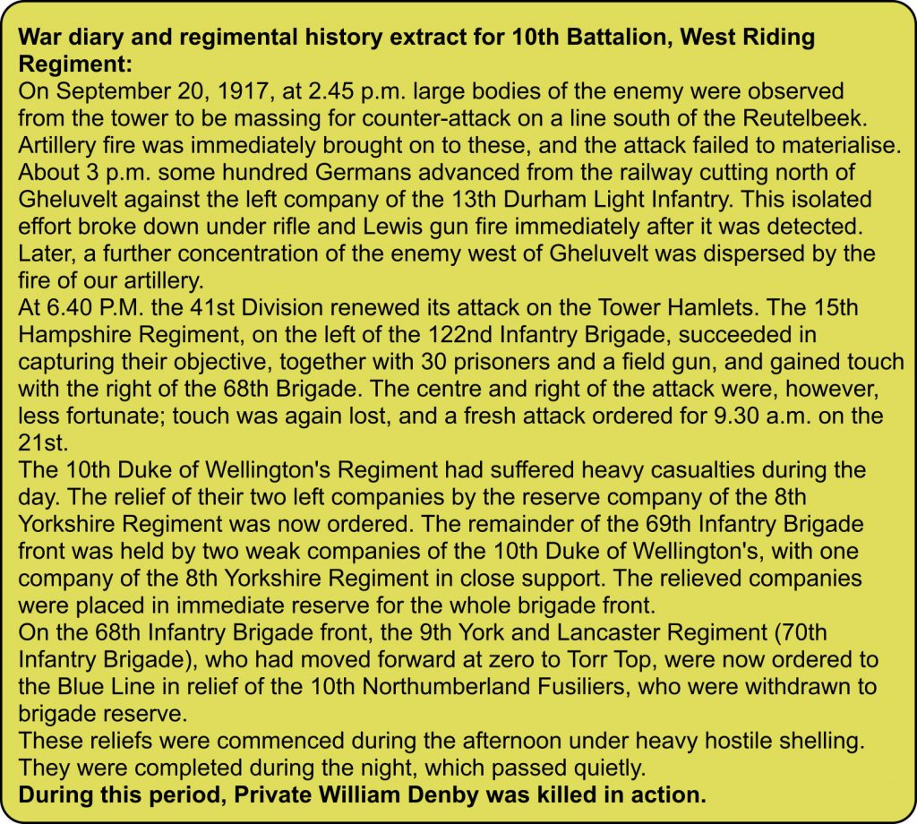 War diary extract for 10th Battalion West Riding Regiment for mid September 1917