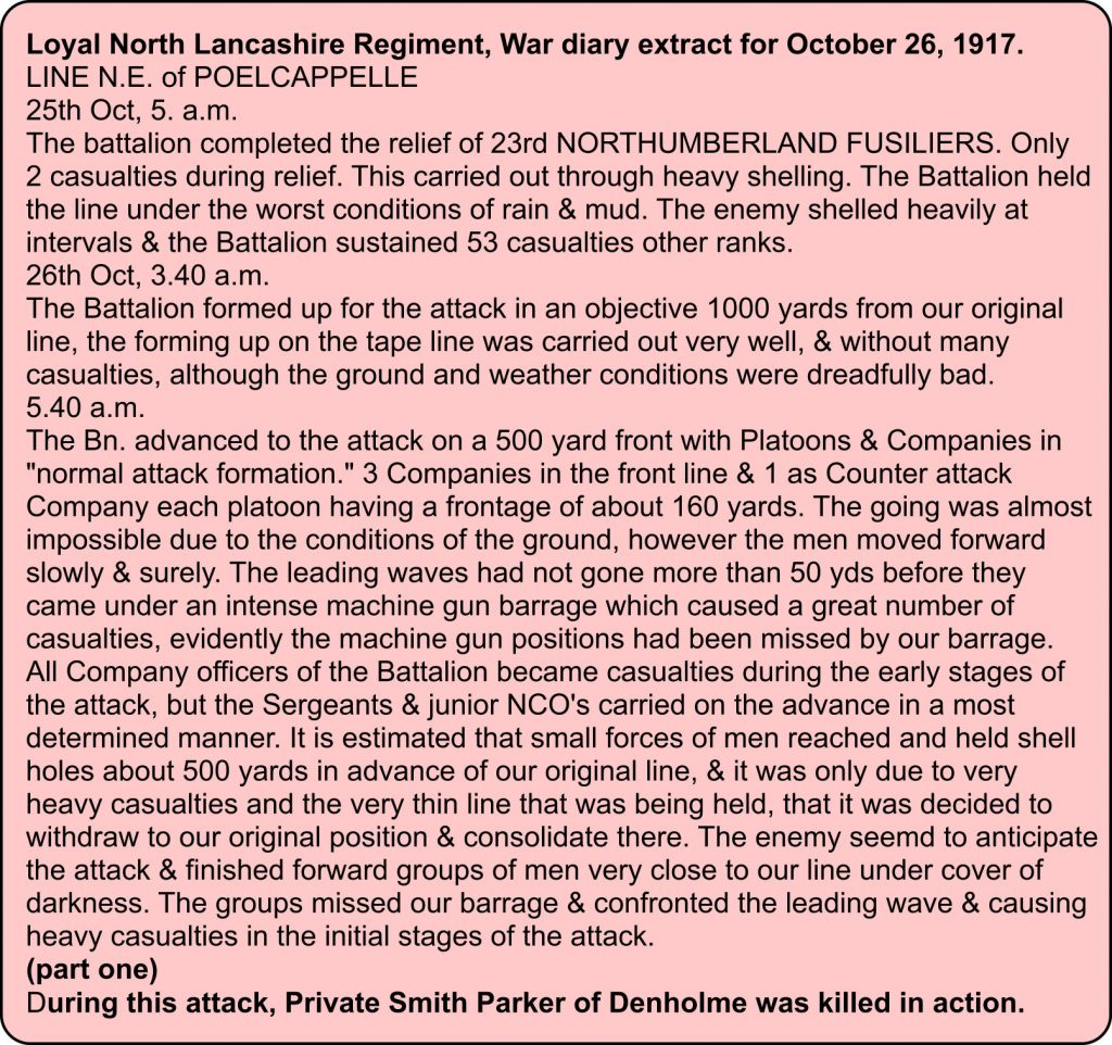 War diary extract for Loyal North Lancashire Regiment for 26th October 1917