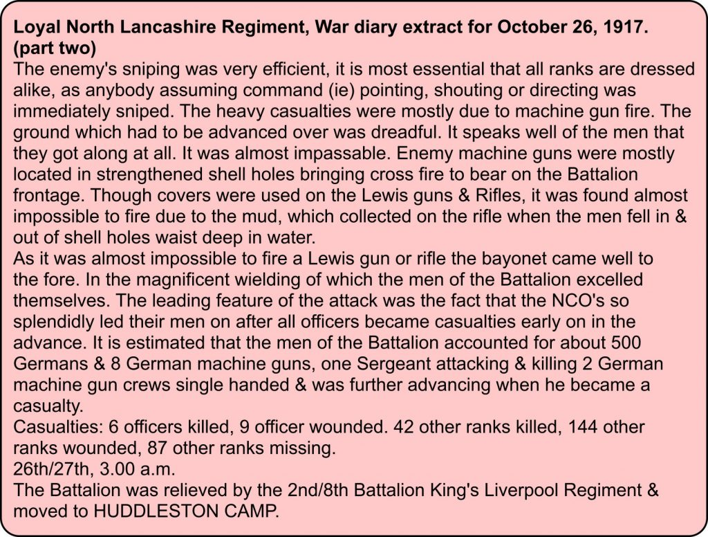 War diary for Loyal North Lancashire Regiment for 26th October 1917