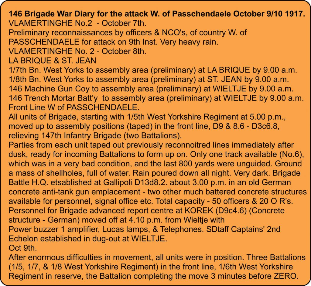 146 Brigade War diary extrac for October 10th, 1917