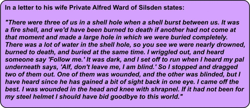 Letter home from Private Alfred Ward