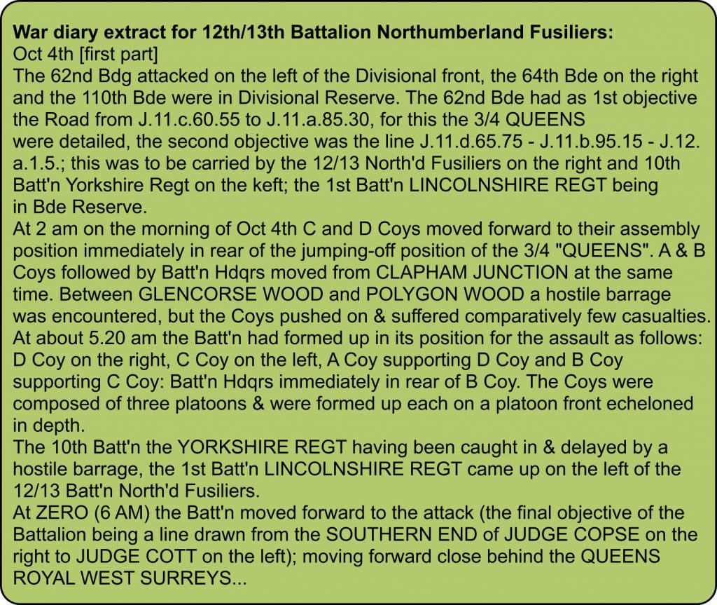 War diary extract for 12th/13th Battalion Northumberland Fusiliers - 4th October 1917