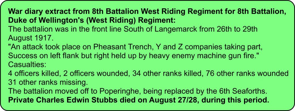 War diary extract for 8th Battalion West Riding Regiment, 26th to 29th August 1917