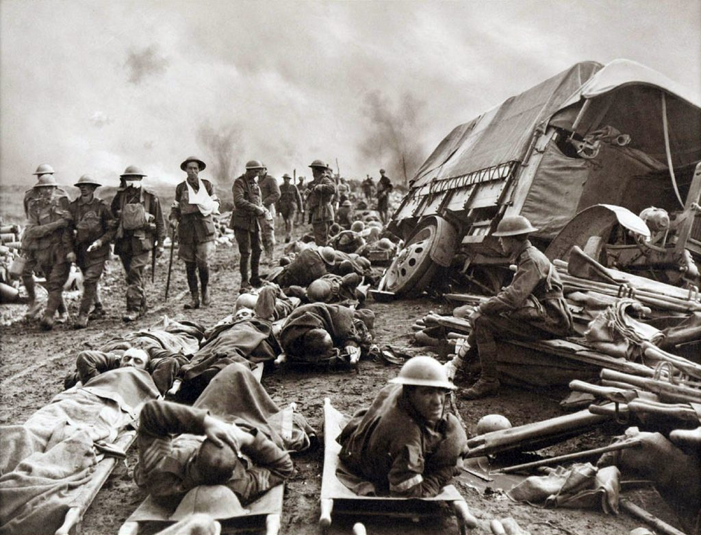 Wounded at the side of the Menin Road in 1917. Photo by John Warwick Brooke