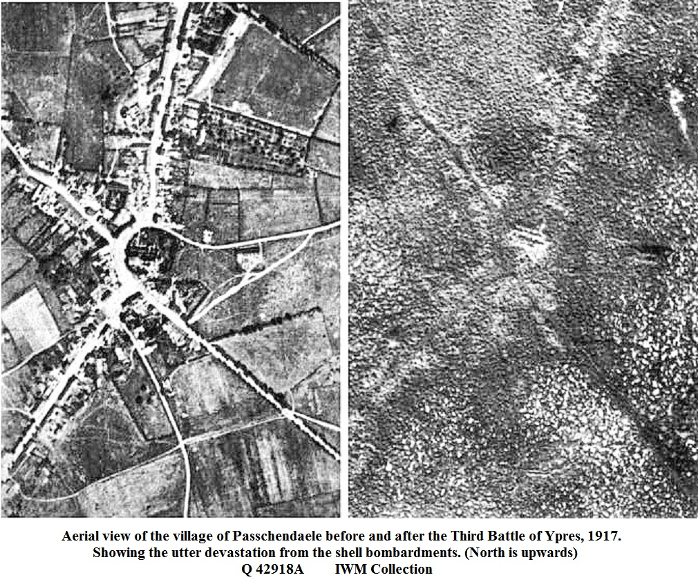 Aerial view of Passchendaele villafe before and after the Third Battle of Ypres, 1917.