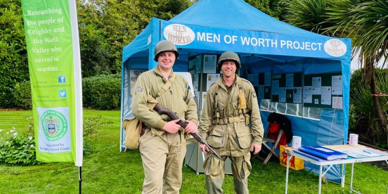 Two American Army soldiers visit our stand.